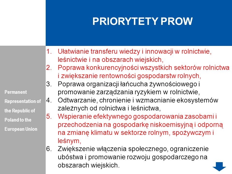 PRIORYTETY PROW Permanent Representation of the Republic of Poland to the European Union.