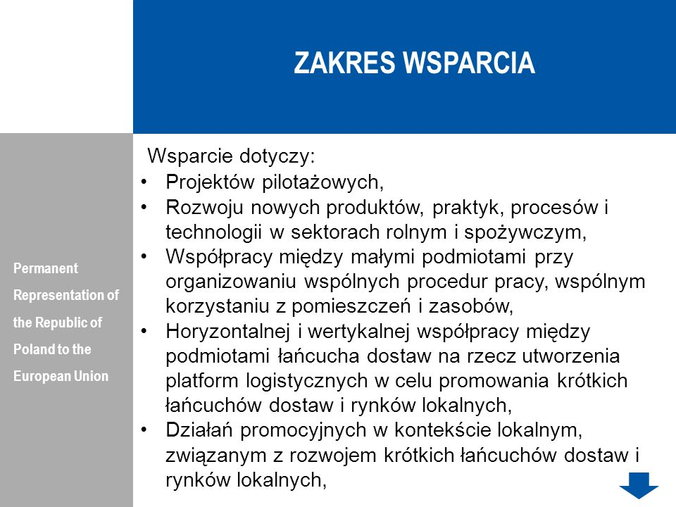 ZAKRES WSPARCIA Wsparcie dotyczy: Projektów pilotażowych,