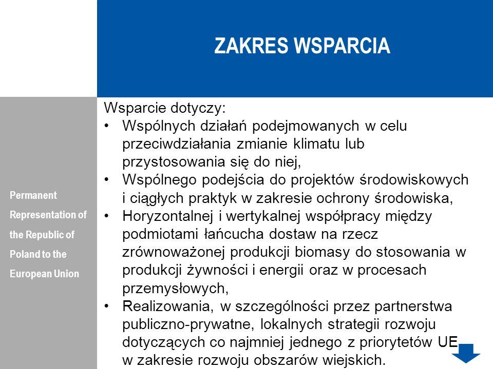 ZAKRES WSPARCIA Wsparcie dotyczy: