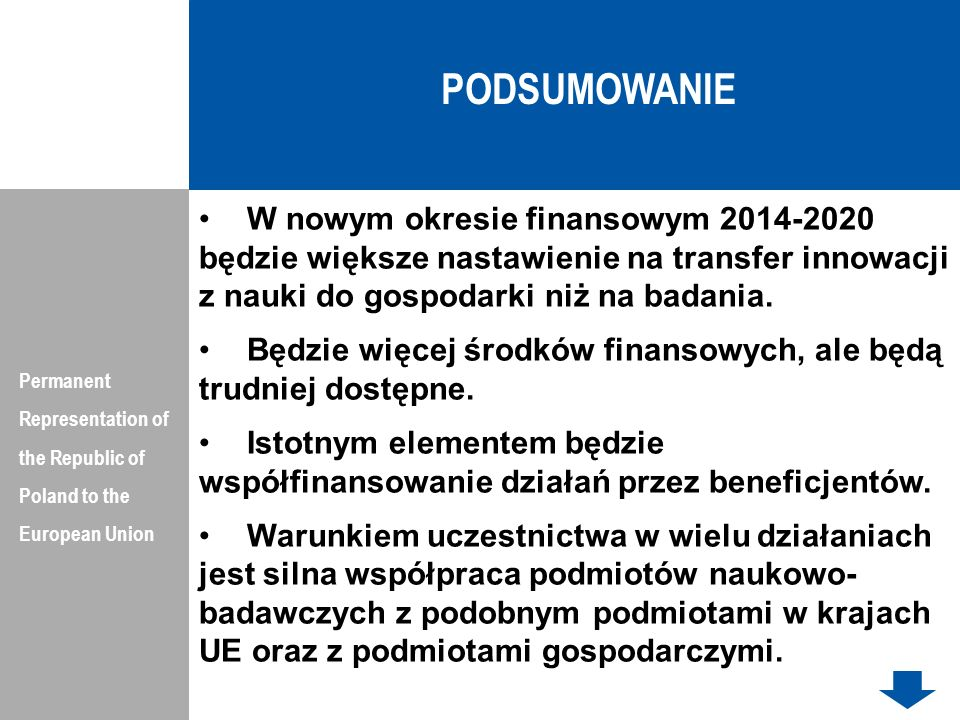 PODSUMOWANIEPermanent Representation of the Republic of Poland to the European Union.
