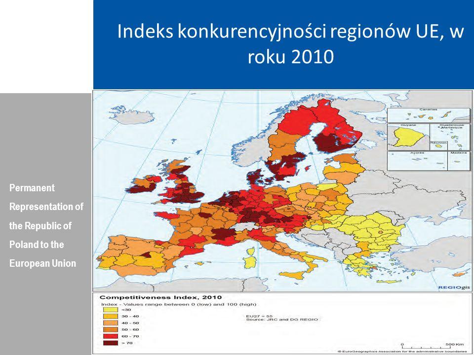 Indeks konkurencyjności regionów UE, w roku 2010