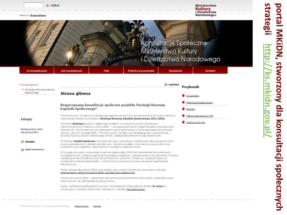 portal MKiDN, stworzony dla konsultacji społecznych strategii http://ks.mkidn.gov.pl/