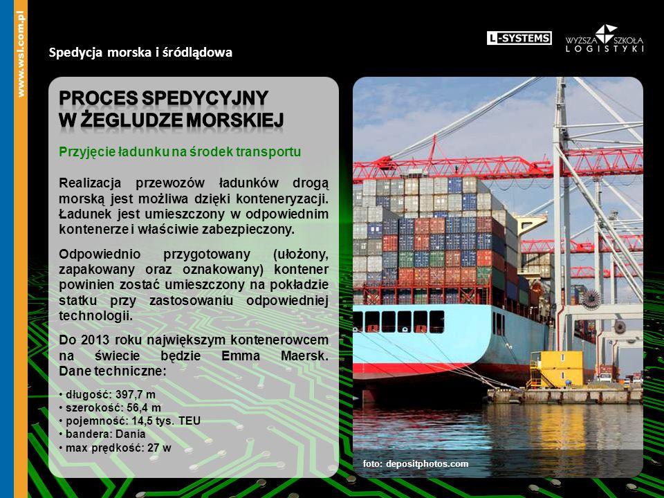 Proces spedycyjny w żegludze morskiej Spedycja morska i śródlądowa