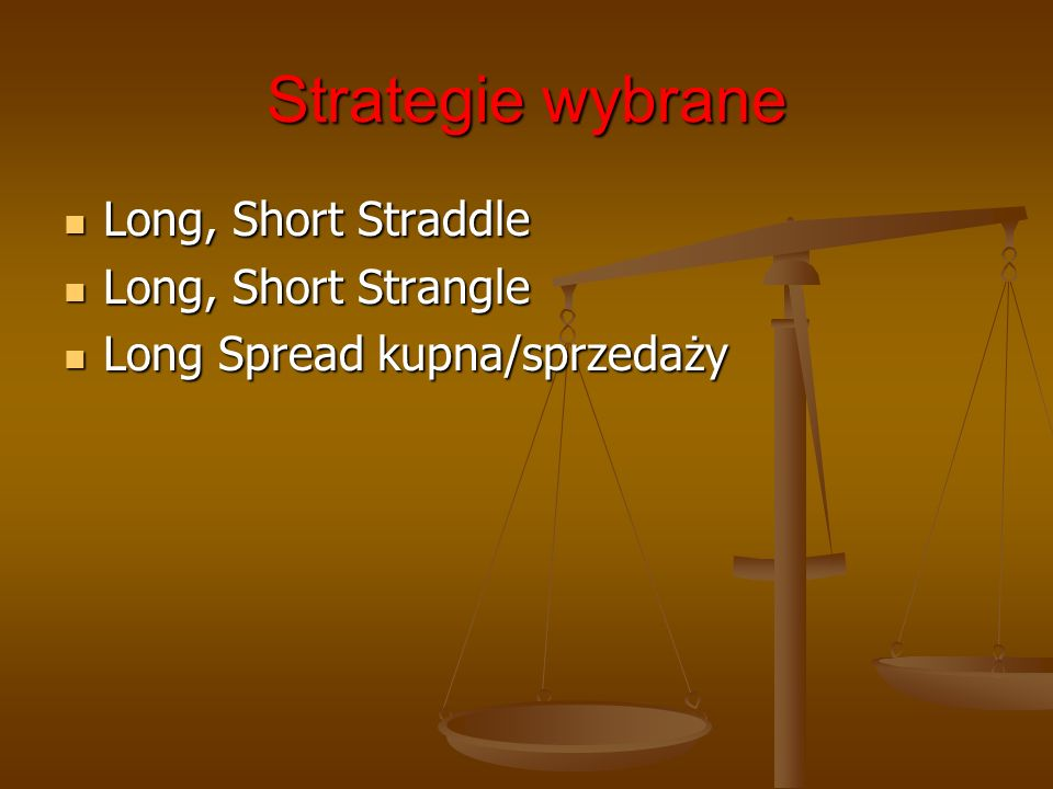 Strategie wybrane Long, Short Straddle Long, Short Strangle