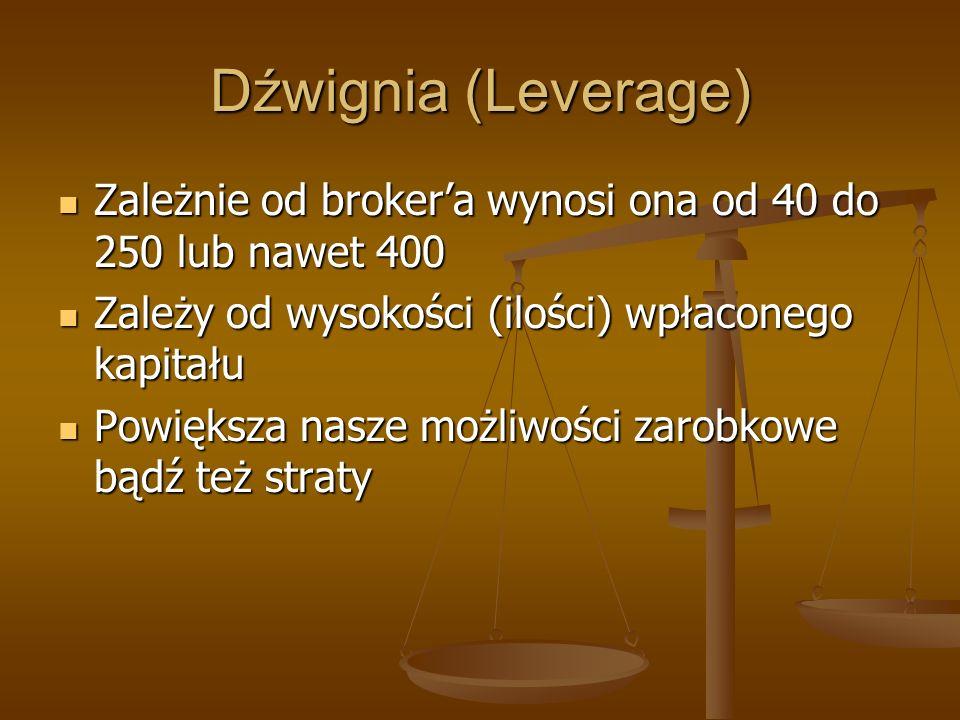 Dźwignia (Leverage)Zależnie od broker'a wynosi ona od 40 do 250 lub nawet 400. Zależy od wysokości (ilości) wpłaconego kapitału.