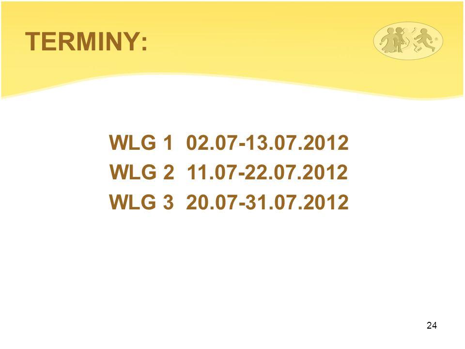TERMINY: WLG 1 02.07-13.07.2012 WLG 2 11.07-22.07.2012 WLG 3 20.07-31.07.2012
