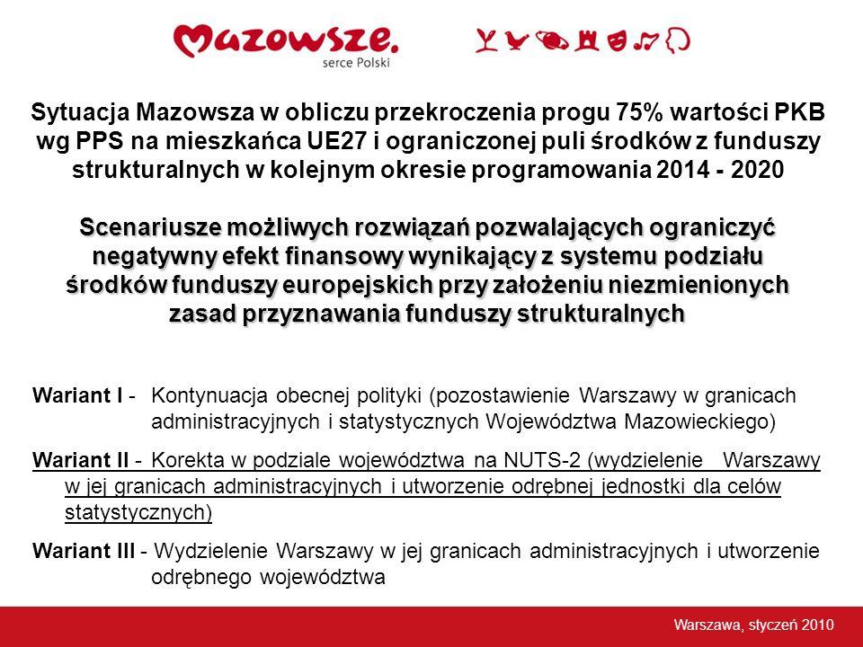 Sytuacja Mazowsza w obliczu przekroczenia progu 75% wartości PKB wg PPS na mieszkańca UE27 i ograniczonej puli środków z funduszy strukturalnych w kolejnym okresie programowania 2014 - 2020