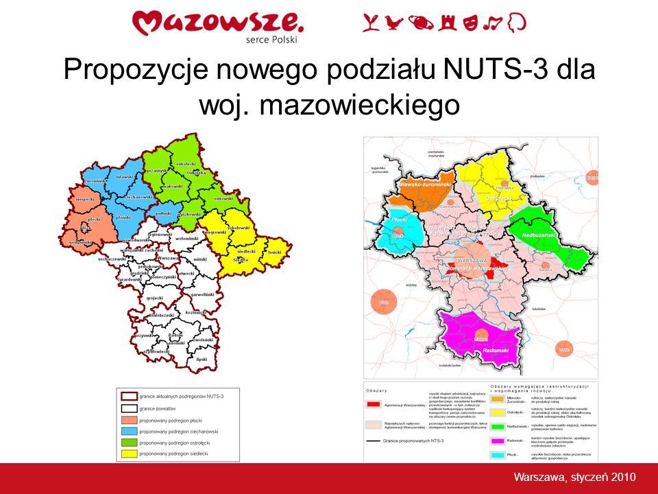 Propozycje nowego podziału NUTS-3 dla woj. mazowieckiego
