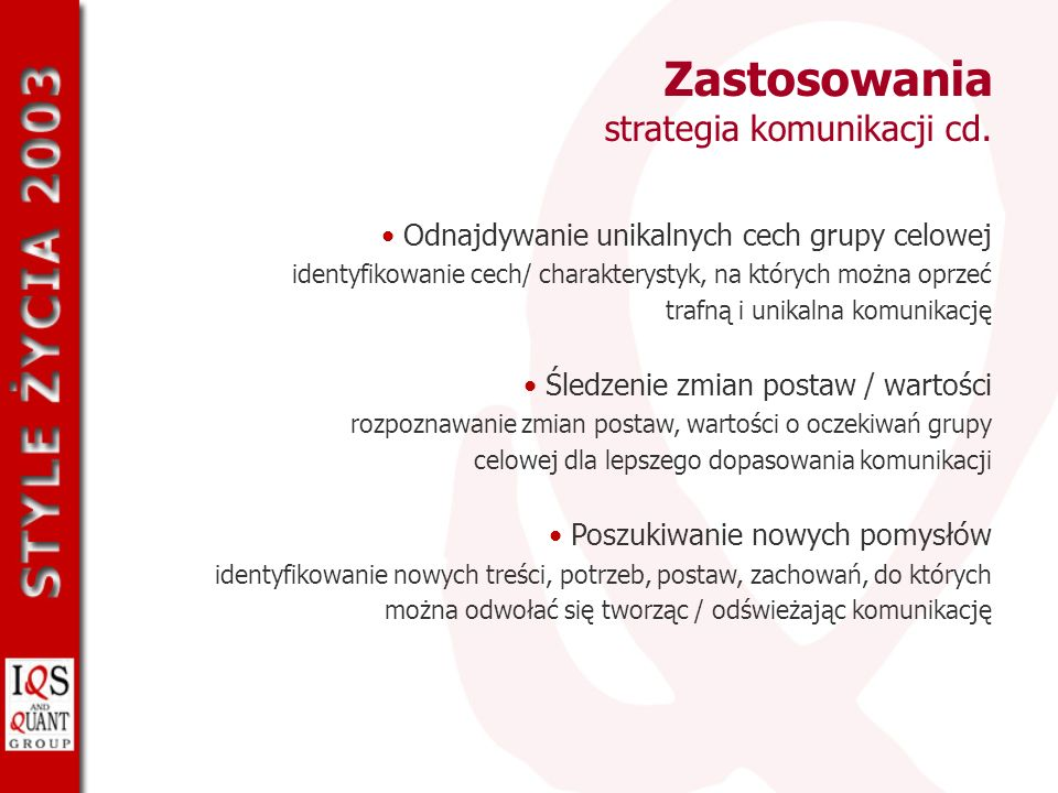 Zastosowania strategia komunikacji cd.