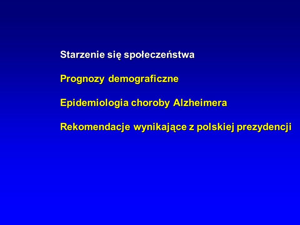 Starzenie się społeczeństwa Prognozy demograficzne Epidemiologia choroby Alzheimera Rekomendacje wynikające z polskiej prezydencji