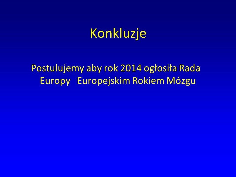 Konkluzje Postulujemy aby rok 2014 ogłosiła Rada Europy Europejskim Rokiem Mózgu