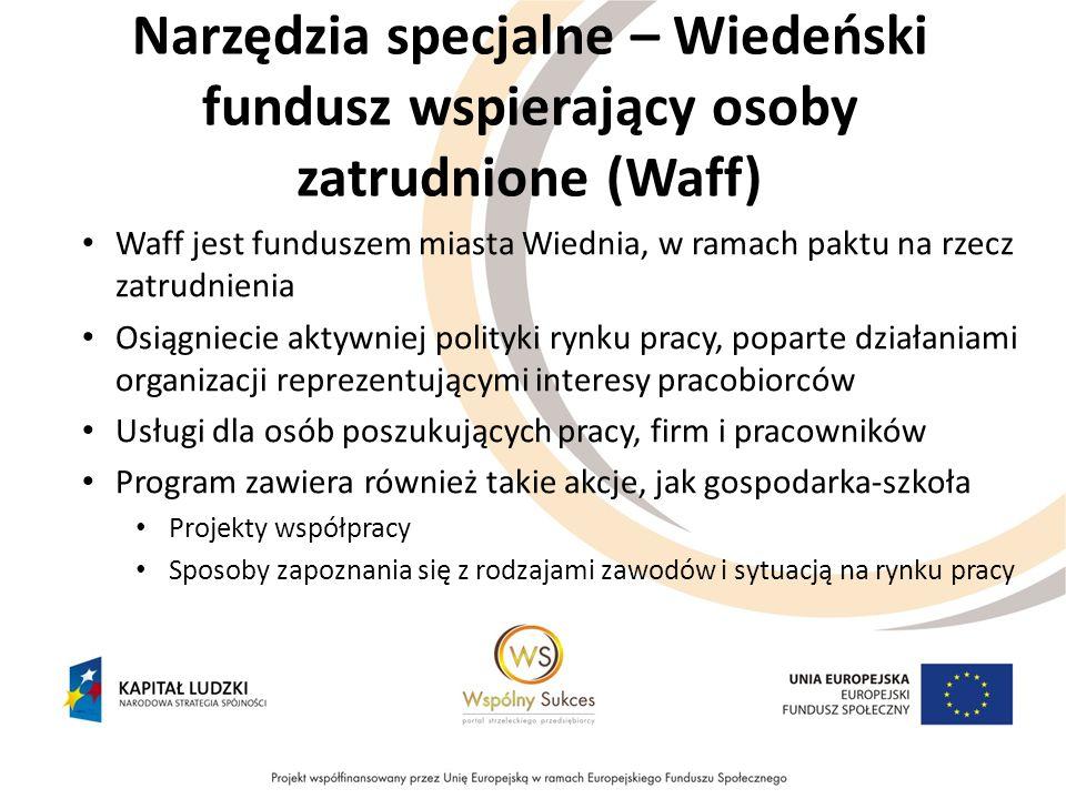 Narzędzia specjalne – Wiedeński fundusz wspierający osoby zatrudnione (Waff)