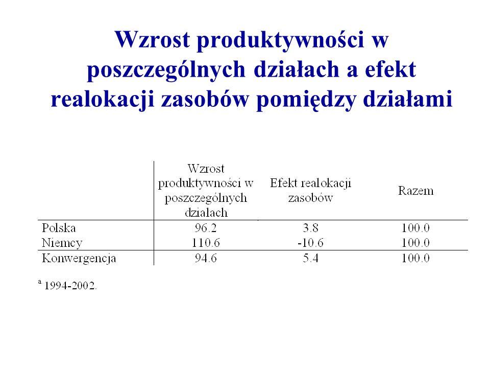 Wzrost produktywności w poszczególnych działach a efekt realokacji zasobów pomiędzy działami