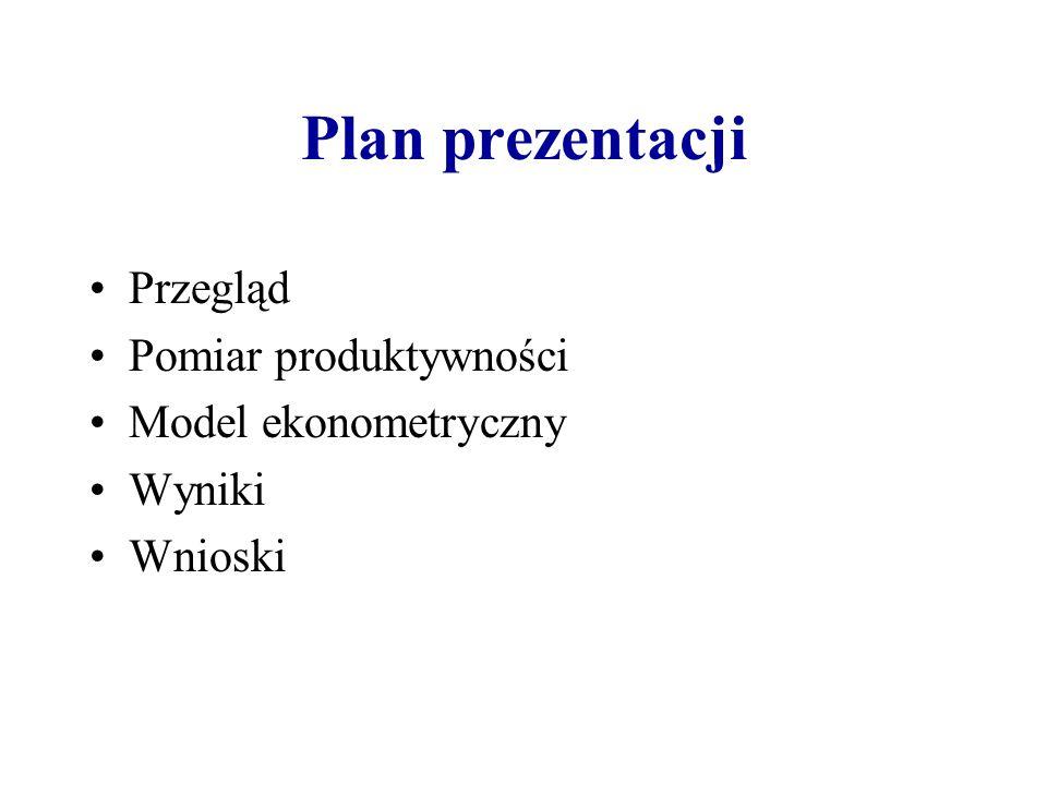 Plan prezentacji Przegląd Pomiar produktywności Model ekonometryczny