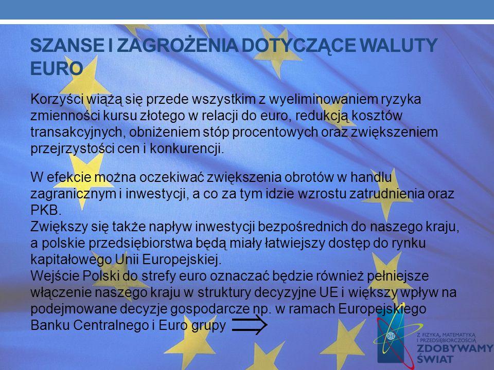 SZANSE I ZAGROŻENIA DOTYCZĄCE WALUTY EURO