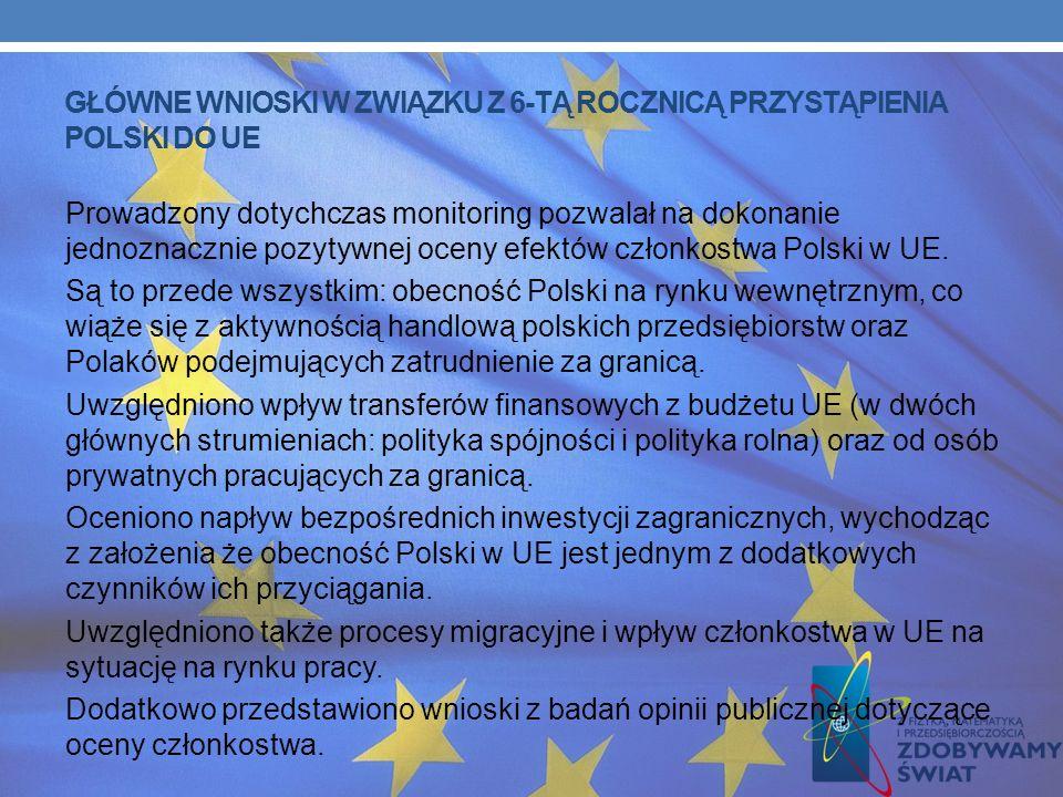 GŁÓWNE WNIOSKI W ZWIĄZKU Z 6-TĄ ROCZNICĄ PRZYSTĄPIENIA POLSKI DO UE