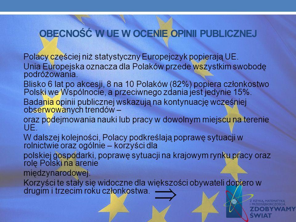 OBECNOŚĆ W UE W OCENIE OPINII PUBLICZNEJ