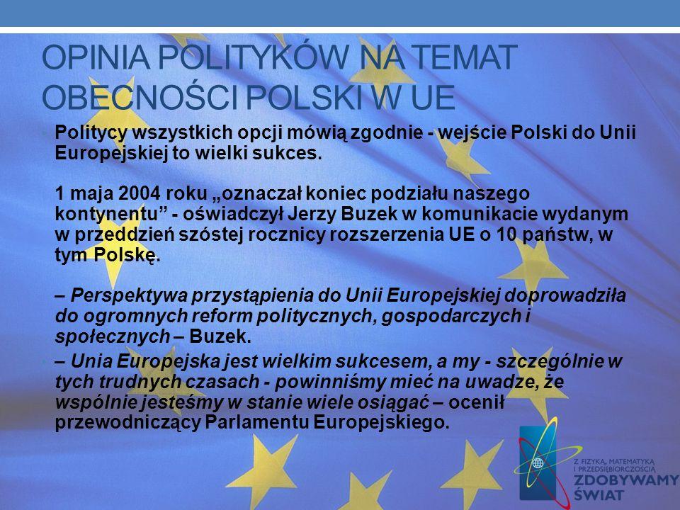 OPINIA POLITYKÓW NA TEMAT OBECNOŚCI POLSKI W UE
