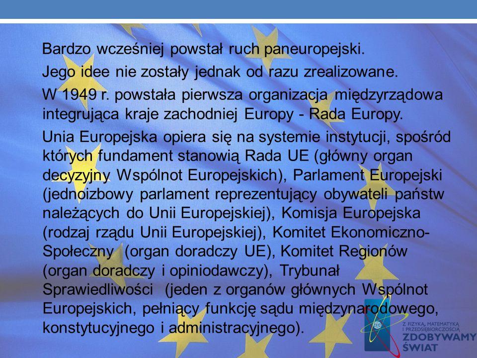 Bardzo wcześniej powstał ruch paneuropejski.