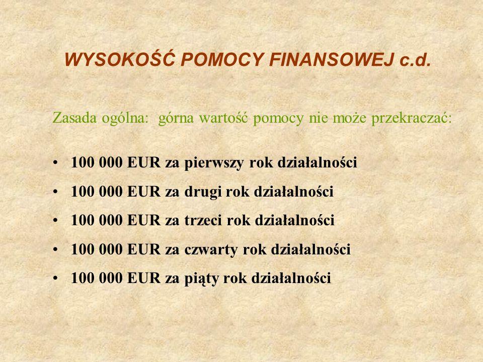 WYSOKOŚĆ POMOCY FINANSOWEJ c.d.