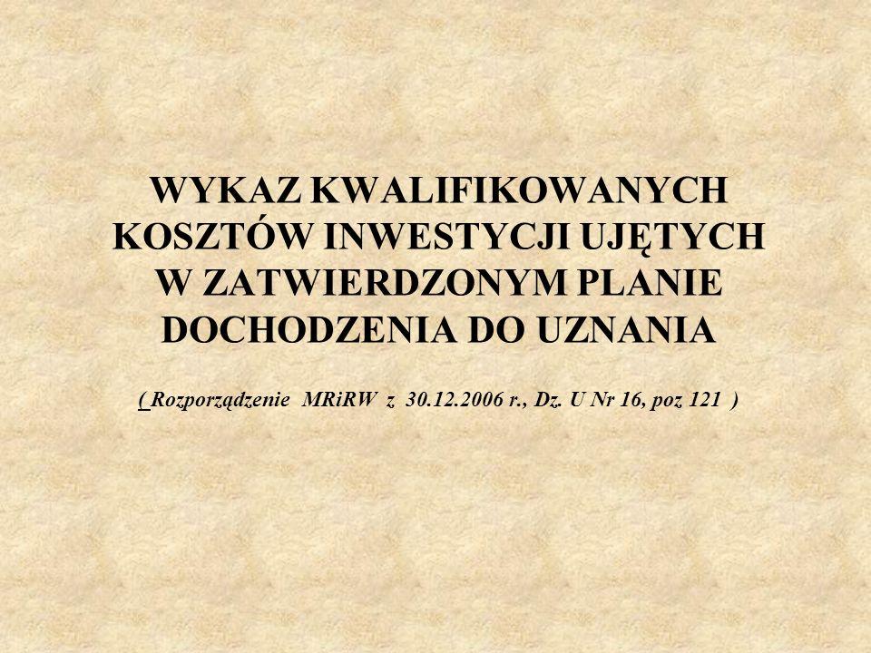 WYKAZ KWALIFIKOWANYCH KOSZTÓW INWESTYCJI UJĘTYCH W ZATWIERDZONYM PLANIE DOCHODZENIA DO UZNANIA ( Rozporządzenie MRiRW z 30.12.2006 r., Dz.