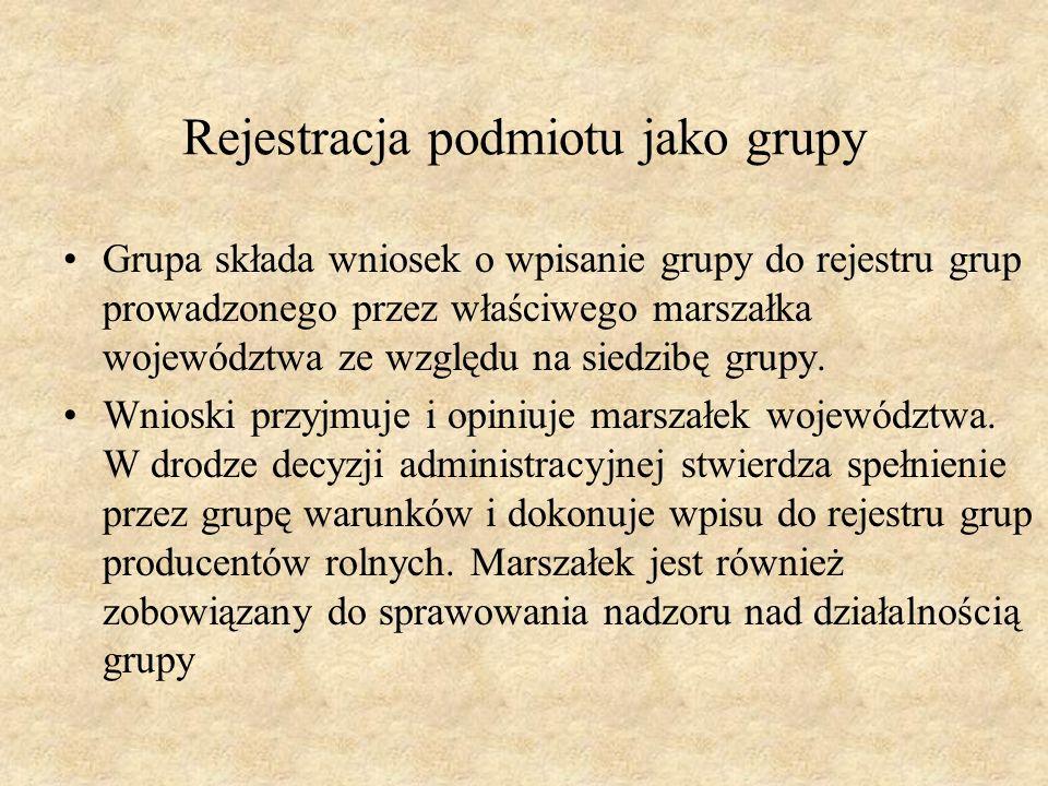 Rejestracja podmiotu jako grupy