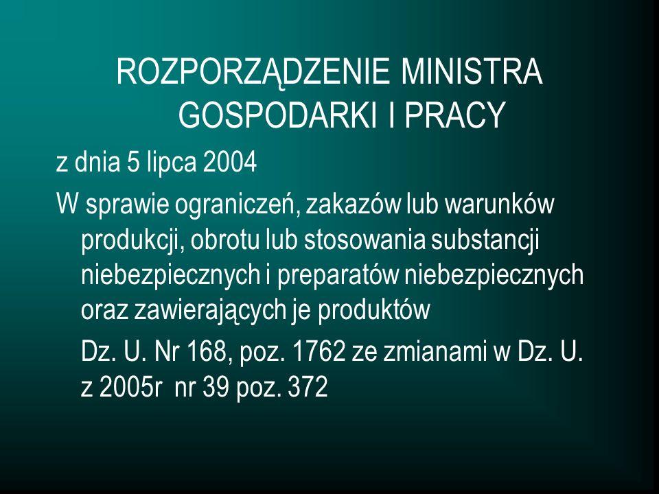 ROZPORZĄDZENIE MINISTRA GOSPODARKI I PRACY