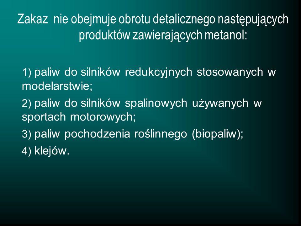 Zakaz nie obejmuje obrotu detalicznego następujących produktów zawierających metanol: