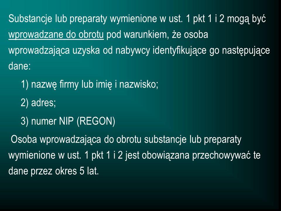 Substancje lub preparaty wymienione w ust