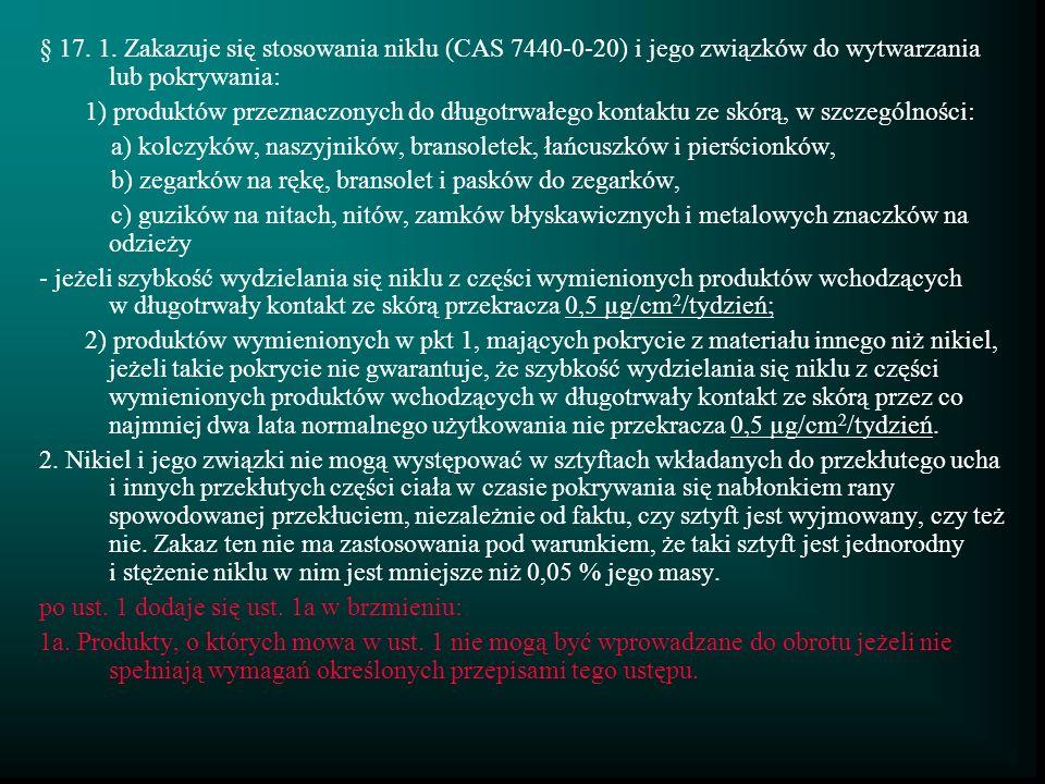 § 17. 1. Zakazuje się stosowania niklu (CAS 7440-0-20) i jego związków do wytwarzania lub pokrywania: