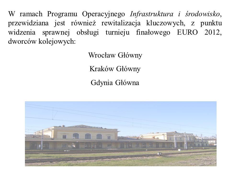 W ramach Programu Operacyjnego Infrastruktura i środowisko, przewidziana jest również rewitalizacja kluczowych, z punktu widzenia sprawnej obsługi turnieju finałowego EURO 2012, dworców kolejowych: