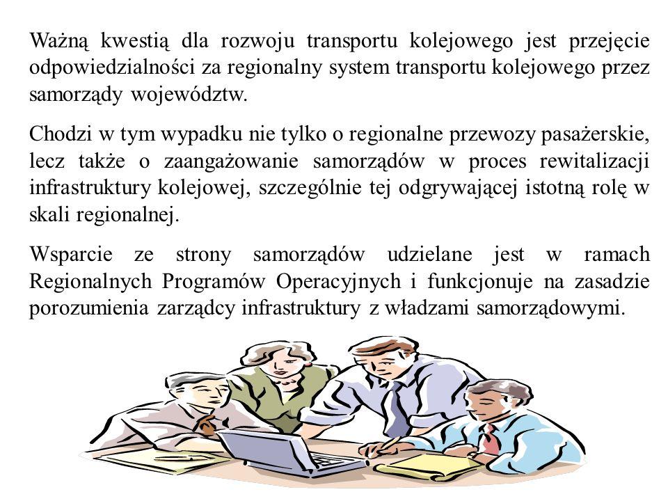 Ważną kwestią dla rozwoju transportu kolejowego jest przejęcie odpowiedzialności za regionalny system transportu kolejowego przez samorządy województw.