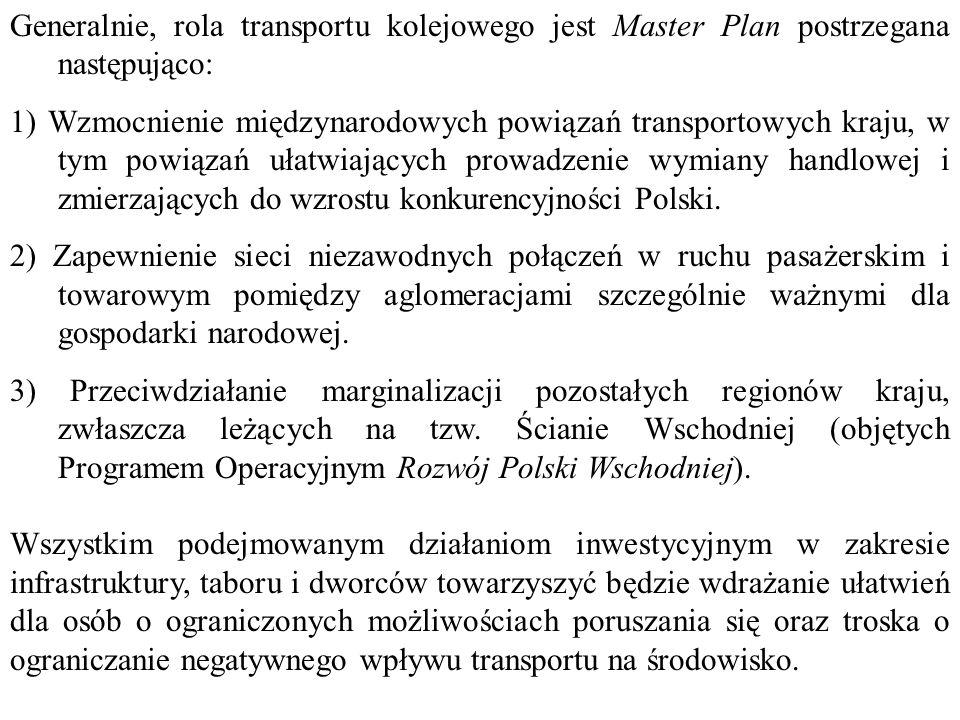 Generalnie, rola transportu kolejowego jest Master Plan postrzegana następująco: