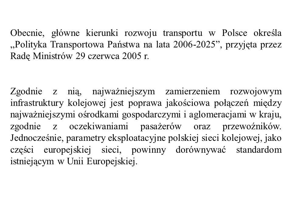 """Obecnie, główne kierunki rozwoju transportu w Polsce określa """"Polityka Transportowa Państwa na lata 2006-2025 , przyjęta przez Radę Ministrów 29 czerwca 2005 r."""