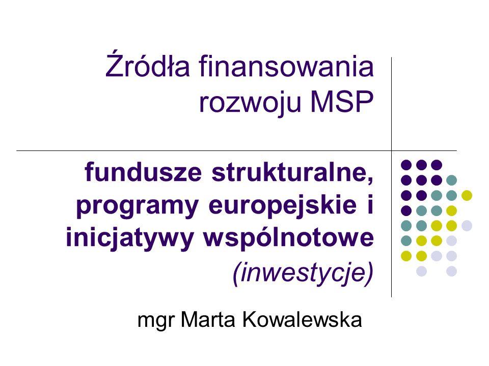 Źródła finansowania rozwoju MSP fundusze strukturalne, programy europejskie i inicjatywy wspólnotowe (inwestycje)