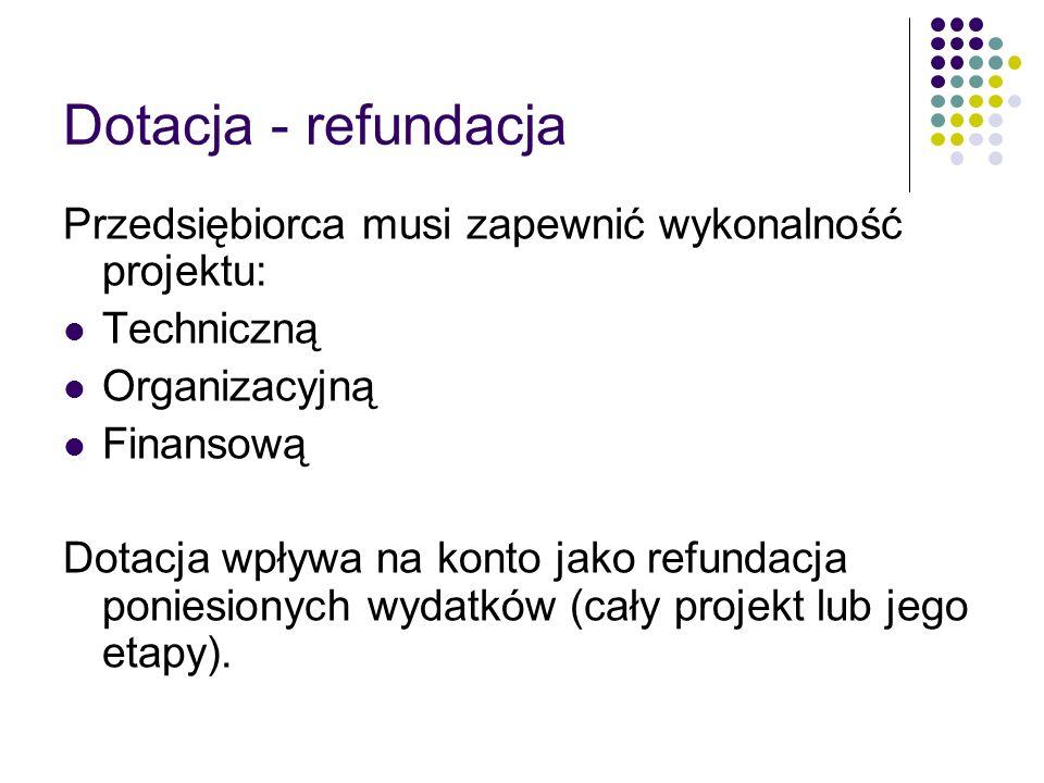 Dotacja - refundacja Przedsiębiorca musi zapewnić wykonalność projektu: Techniczną. Organizacyjną.