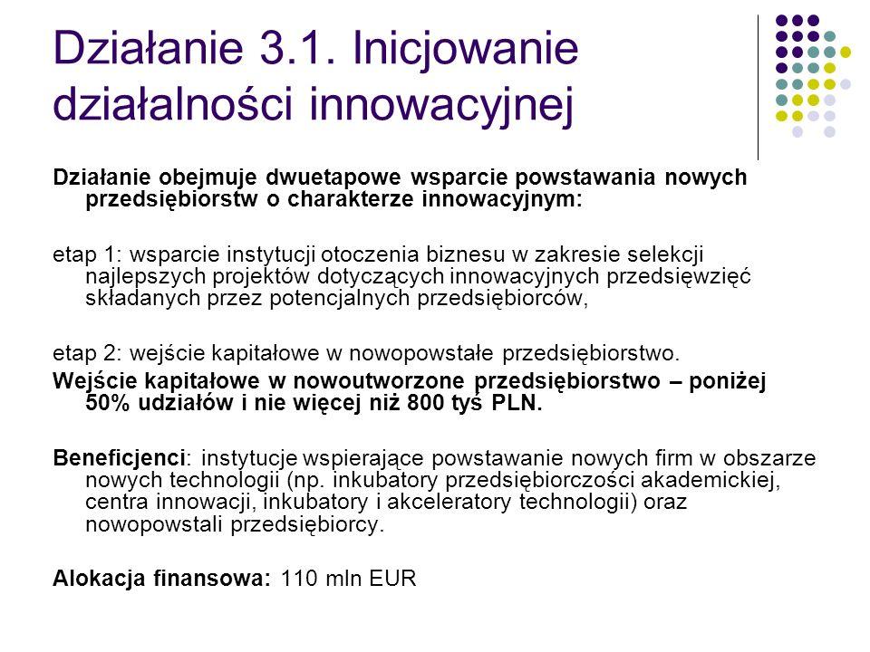 Działanie 3.1. Inicjowanie działalności innowacyjnej