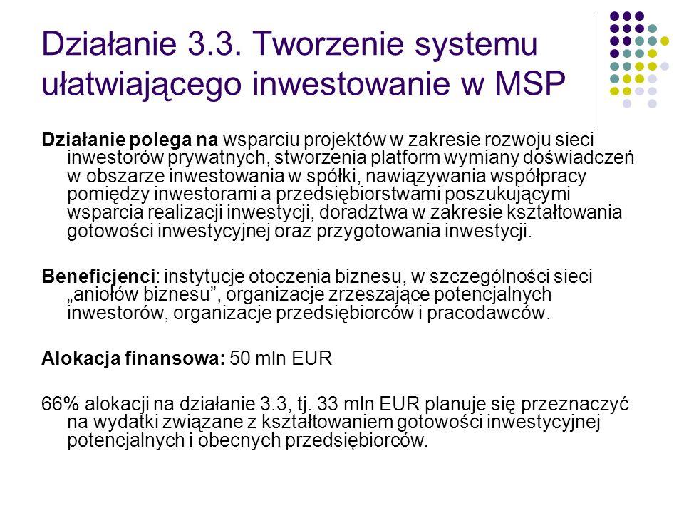 Działanie 3.3. Tworzenie systemu ułatwiającego inwestowanie w MSP