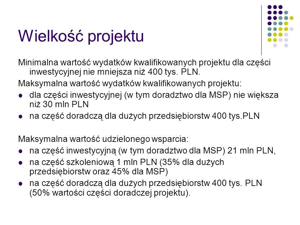 Wielkość projektuMinimalna wartość wydatków kwalifikowanych projektu dla części inwestycyjnej nie mniejsza niż 400 tys. PLN.