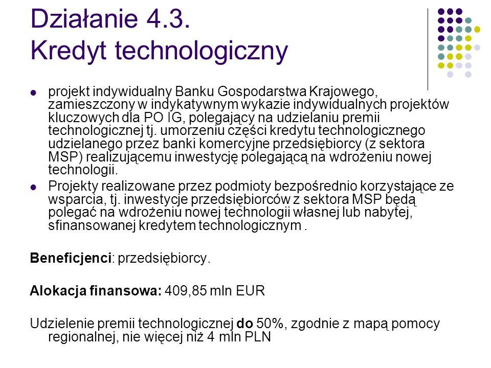 Działanie 4.3. Kredyt technologiczny