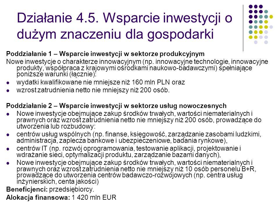 Działanie 4.5. Wsparcie inwestycji o dużym znaczeniu dla gospodarki