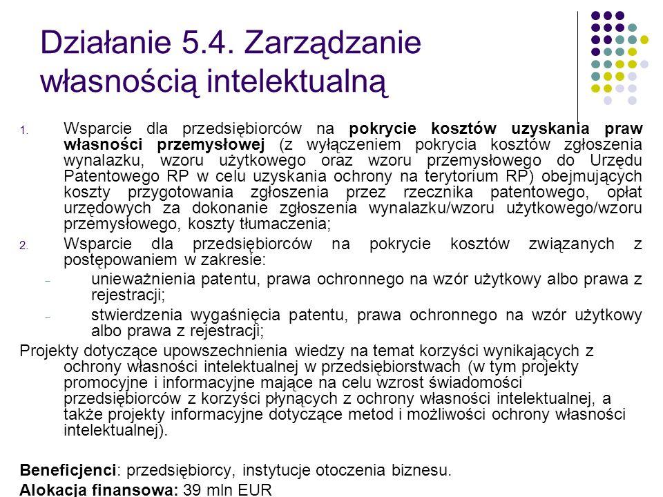 Działanie 5.4. Zarządzanie własnością intelektualną