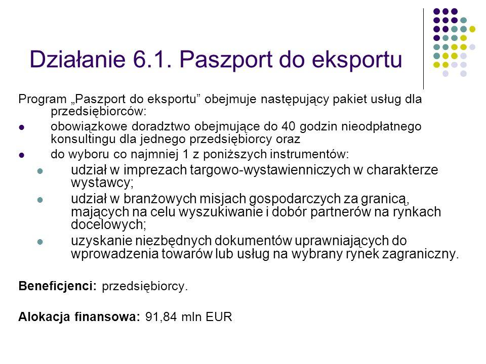 Działanie 6.1. Paszport do eksportu