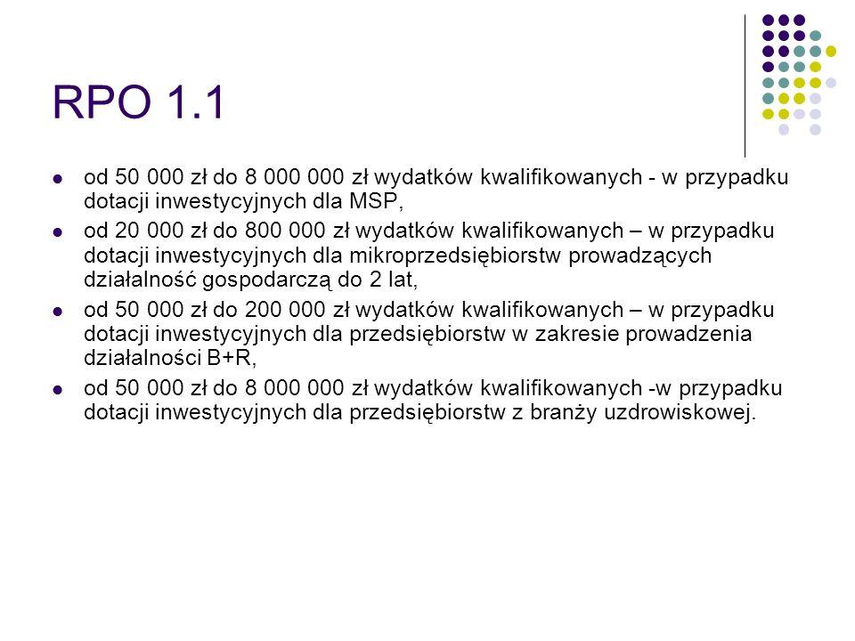RPO 1.1od 50 000 zł do 8 000 000 zł wydatków kwalifikowanych - w przypadku dotacji inwestycyjnych dla MSP,