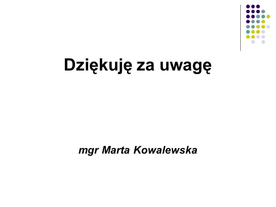 Dziękuję za uwagę mgr Marta Kowalewska