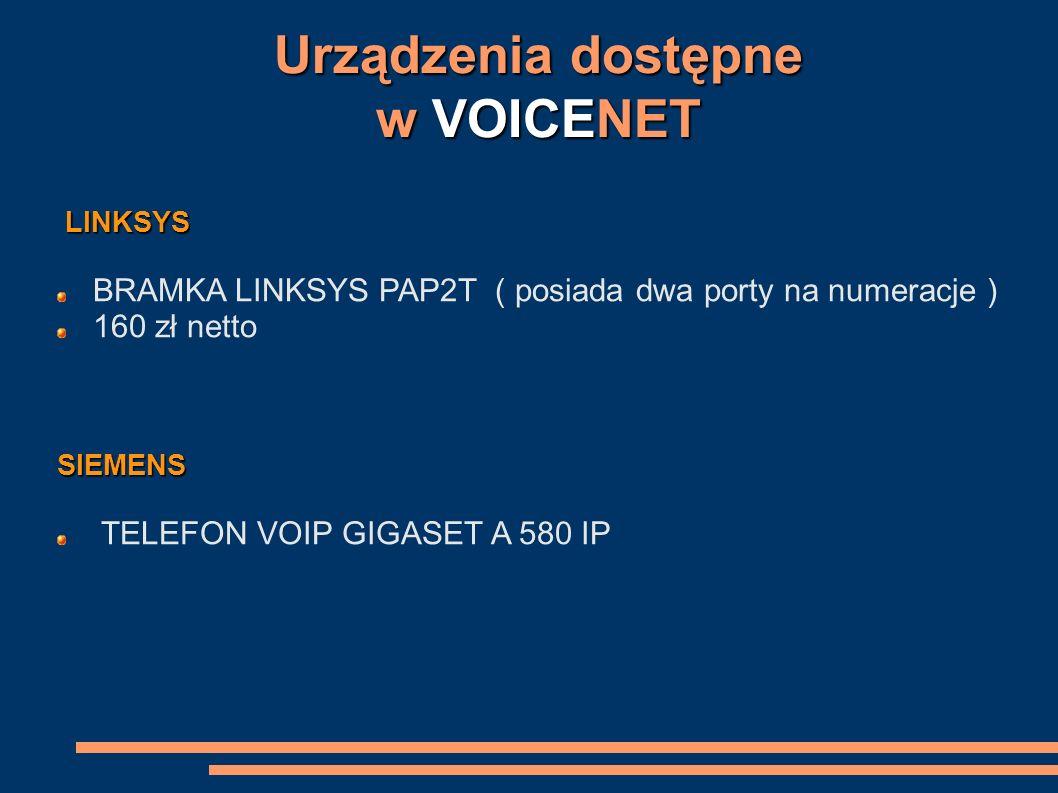 Urządzenia dostępne w VOICENET