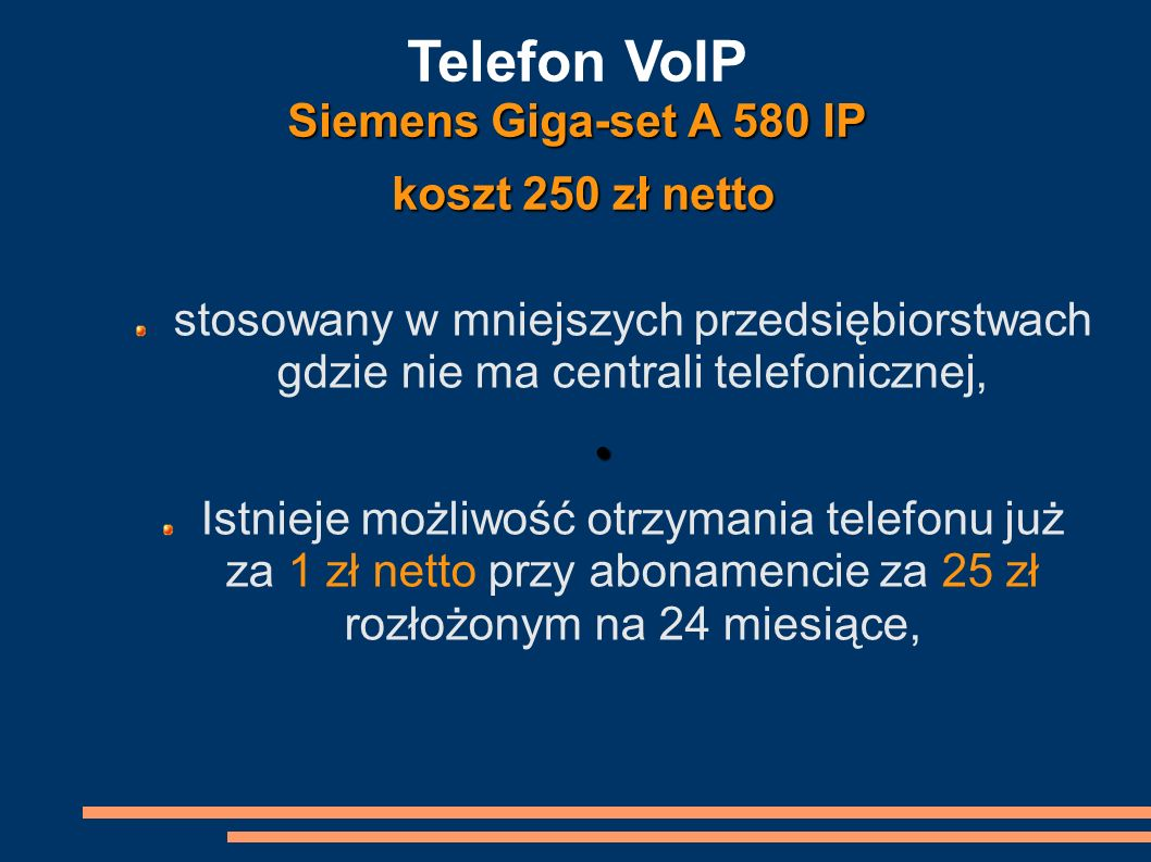 Telefon VoIP Siemens Giga-set A 580 IP koszt 250 zł netto