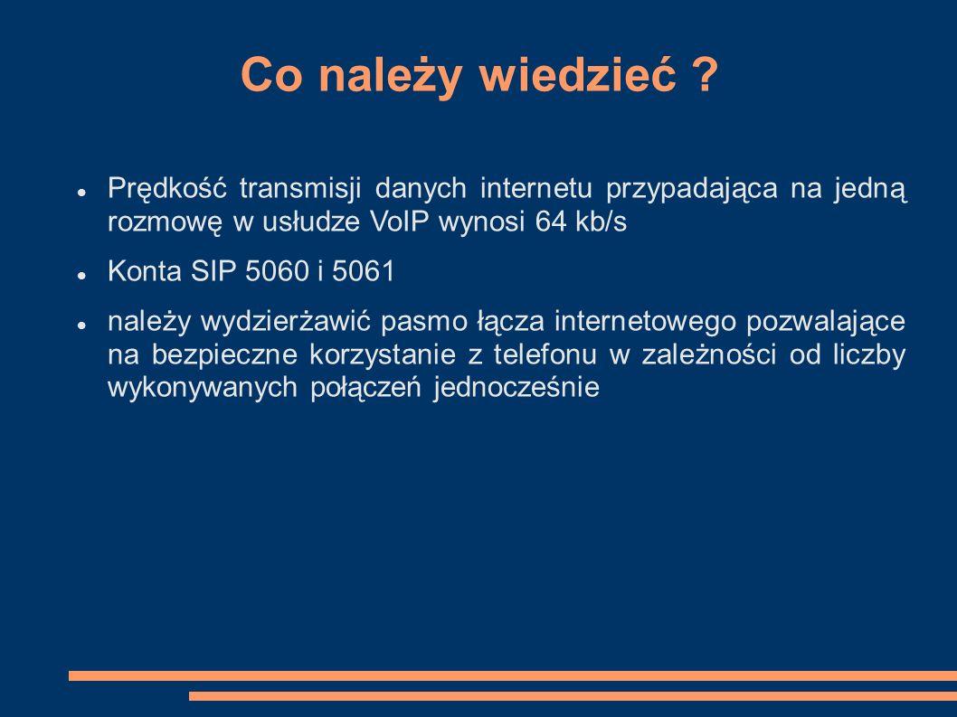 Co należy wiedzieć Prędkość transmisji danych internetu przypadająca na jedną rozmowę w usłudze VoIP wynosi 64 kb/s.
