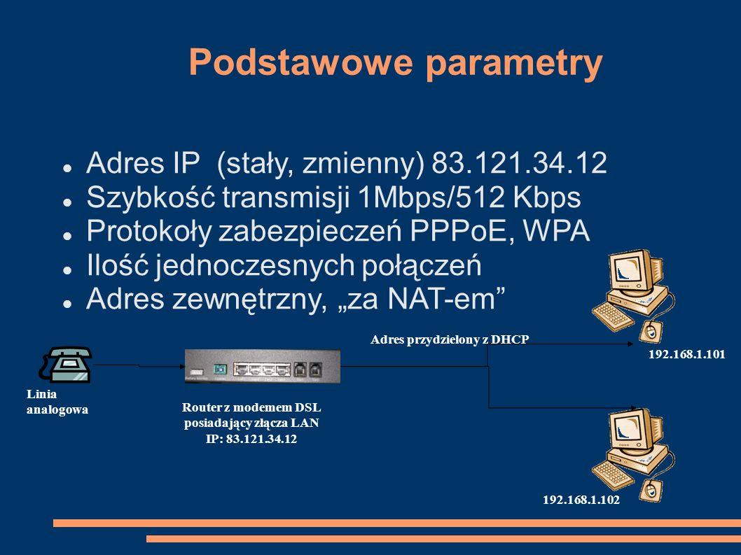Router z modemem DSL posiadający złącza LAN