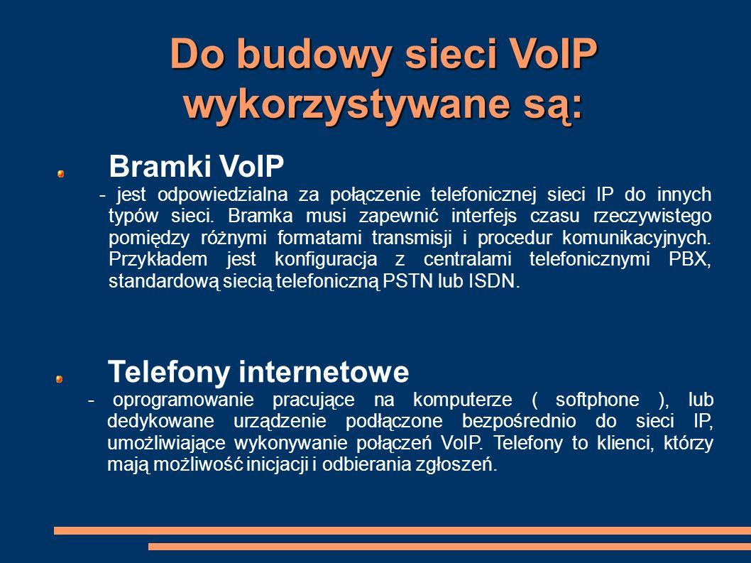 Do budowy sieci VoIP wykorzystywane są: